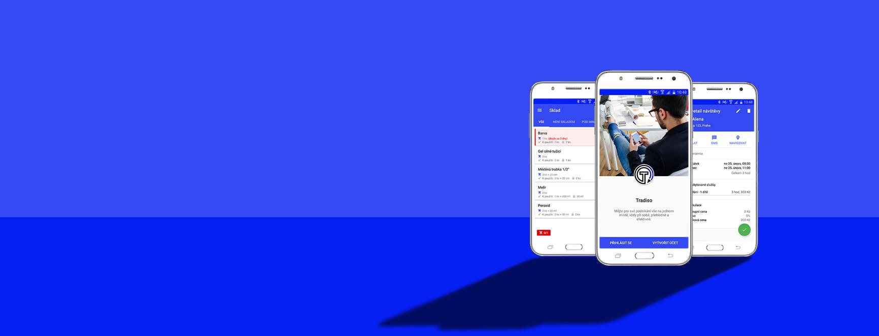 Tradiso - úvodní pozadí - 3 mobily s aplikací